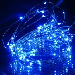 Гирлянда на 30 синих минидиодов с контроллером, на батарейках