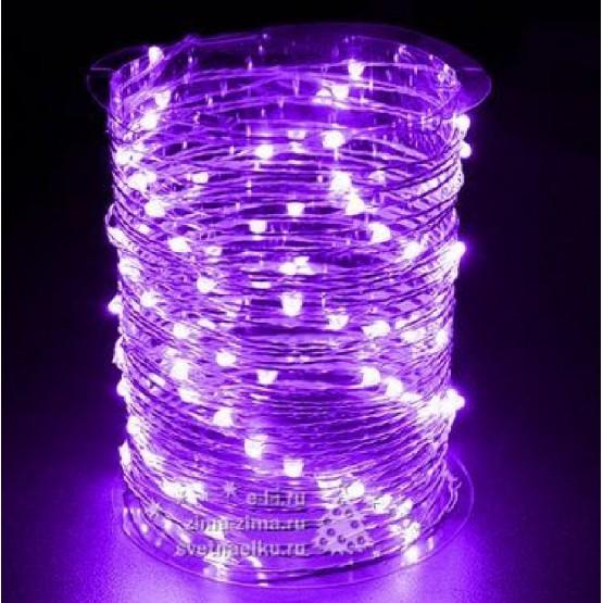 Гирлянда на 30 фиолетовых минидиодов с контроллером на батарейках