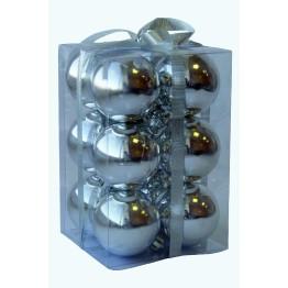 Набор глянцевых серебряных шариков диаметром 6 см