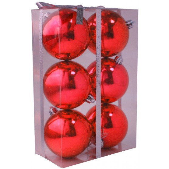 Набор глянцевых красных шариков диаметром 6 см