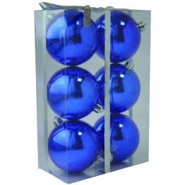 Набор глянцевых синих (6 штук) шариков диаметром 8 см