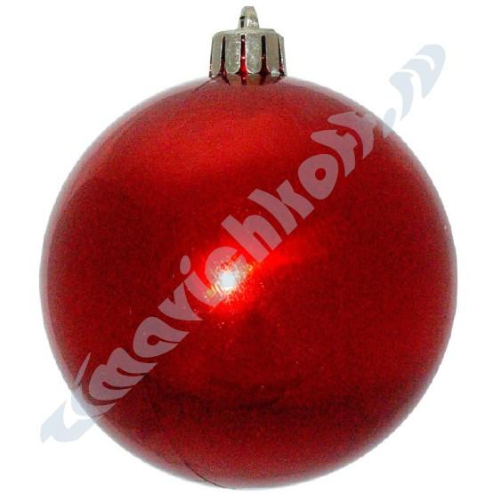 Набор глянцевых красных (6 штук) шариков диаметром 8 см