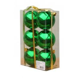Набор глянцевых зеленых (6 штук) шариков диаметром 8 см
