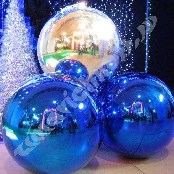 Серебряный матовый шар диаметром 50 см