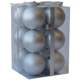 Набор матовых серебряных шариков диаметром 6 см