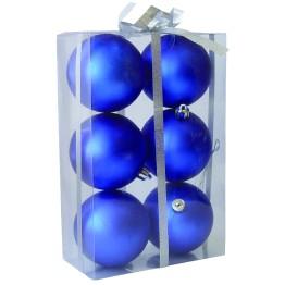 Набор матовых синих шариков диаметром 8 см