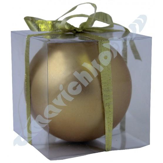 Матовый шар золотой диаметром 10 см