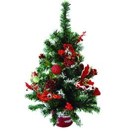 Настольная ёлочка с украшениями, в красном горшке, 50 см