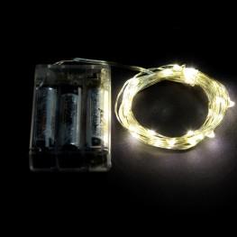 Гирлянда 30 минидиодов, белый теплый, на батарейках 3xAA