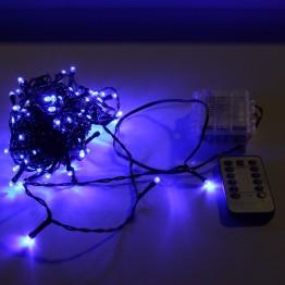Гирлянда с дистанционным пультом, 12м, синие светодиоды